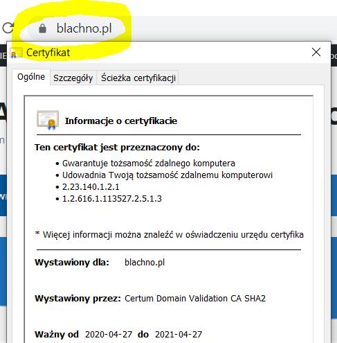 Połączenia szyfrowane certyfikatem SSL Kancelaria Radcy Prawnego Macieja Błachno